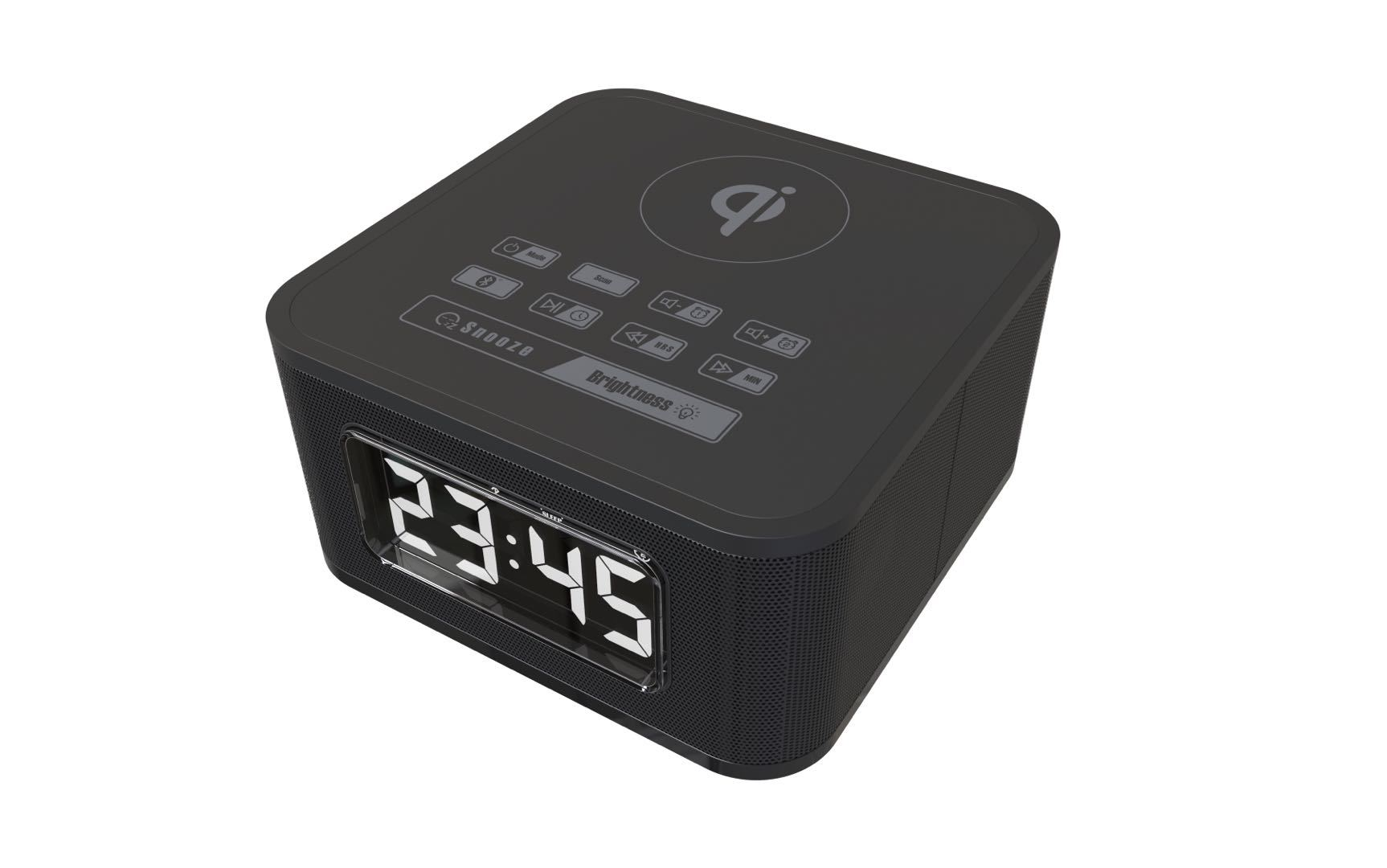 CLOCK RADIO WITH BLUETOOTH AND QI CHARGING